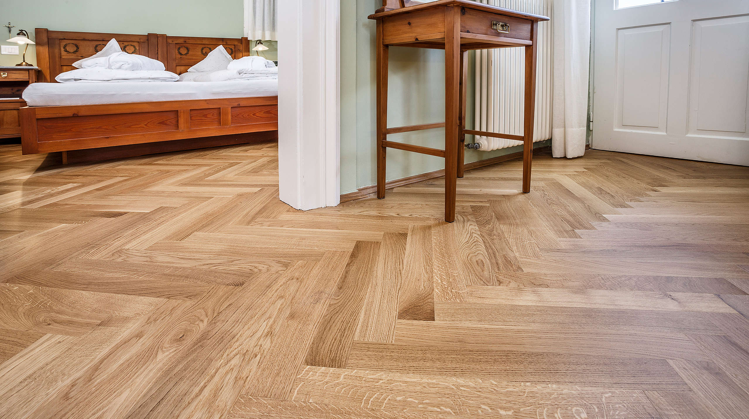 Floor, flooring, herringbone parquet, oak, indoors, wood