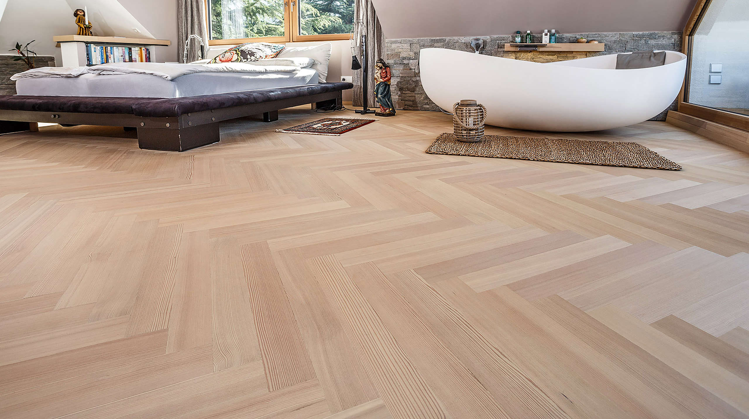 Floor, flooring, herringbone parquet, larch, indoors, wood